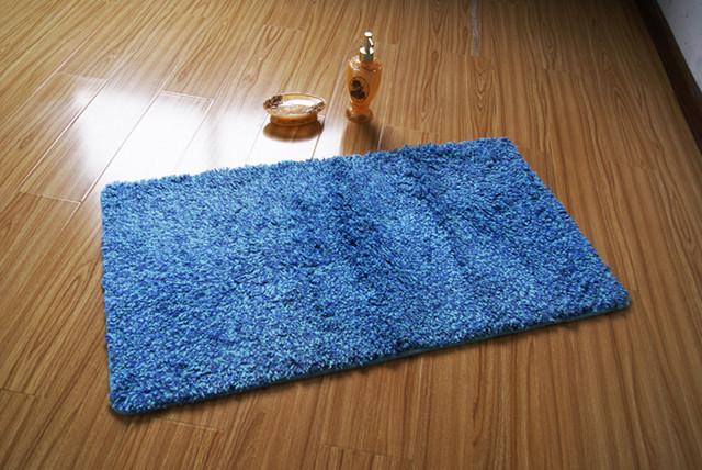 Modern Rectangle Blue Skidproof Bathroom Mat Rug