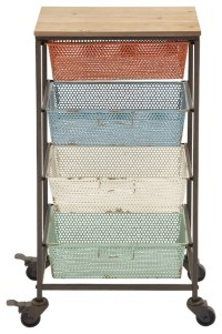 Colorful and Portable Metal Wood Storage Cart ...