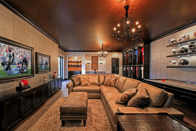 how to decorate my living room with a sectional brown and turquoise ideas man cave 2 - contemporary basement tampa by kds ...