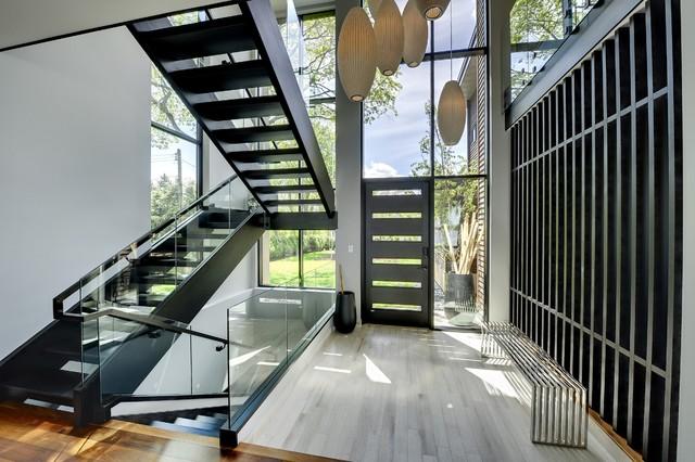 Rift cut oak stairwell  Contemporary  Staircase  minneapolis