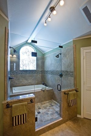 double shower and bathtub