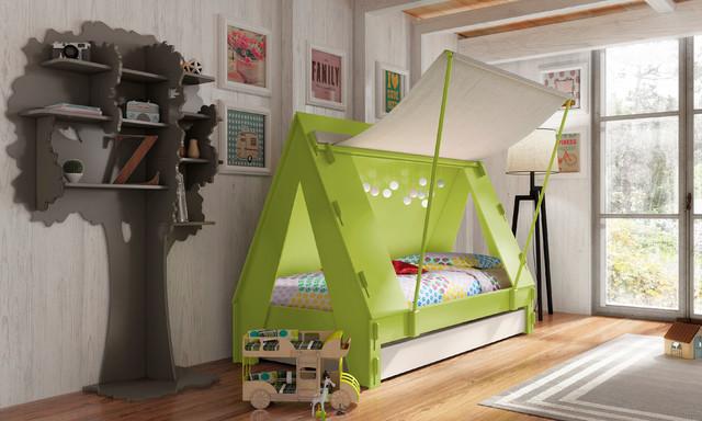 Kids Bedroom Trundle Cabin Tent Bed