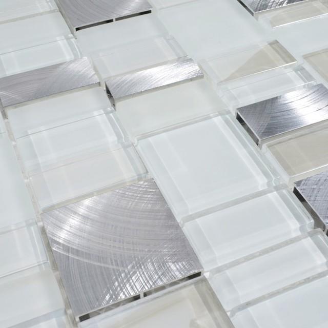 Self Adhesive White Brick 3d Wallpaper Metal Stone Glass Mosaic Tile 1 Square Foot