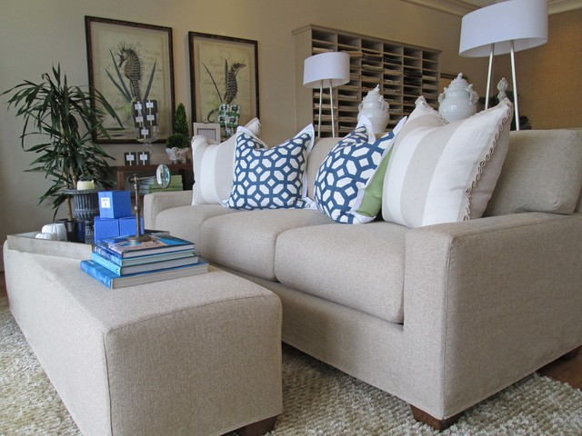 beach house sofa slipcover modern recliner coastal style sofas - home design elements