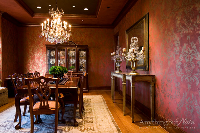 Red and Gold Dining Room with Stencil Pattern  Dining