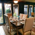 7ft farm table with upholstered chairs traditional dining room