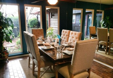 Farmhouse Table And Upholstered Chairs