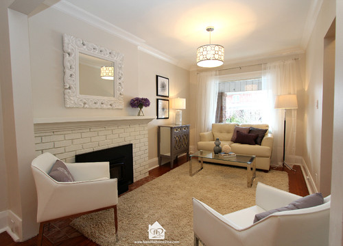living room fireplace off centered modern interior design ideas for small rooms feels like home 2 me staging challenging spaces that became we can t change the foot print but created a layout worked functionally and made feel larger with properly scaled furnishings