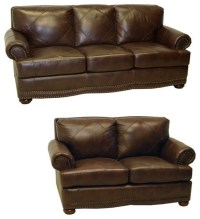 Shoreline Chocolate Italian Leather Sofa and Loveseat ...