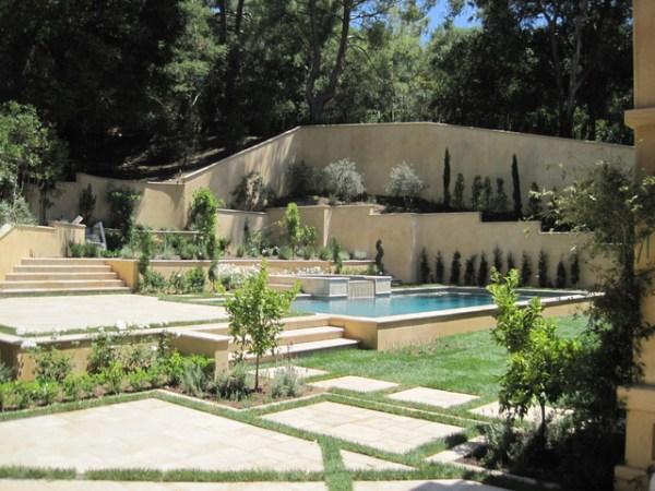 tuscan inspired pool & garden