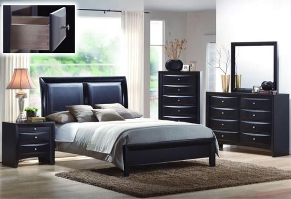 black queen panel bedroom set Black Wood Leatherette Queen Panel Bedroom Set - Modern - Bedroom Furniture Sets - salt lake
