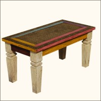 Mediterranean Solid wood & Brass Inlay Hall Coffee Table ...