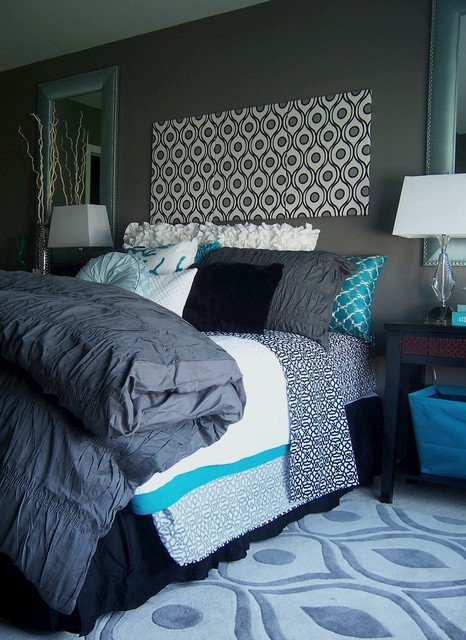 Gray and Turquoise Bedroom  Contemporary  Bedroom