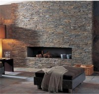 Ledger Panel Stacked Stone Wall and Fireplaces