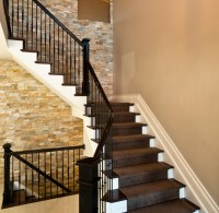 Stacked Stone Stairs - Contemporary - Staircase - denver ...