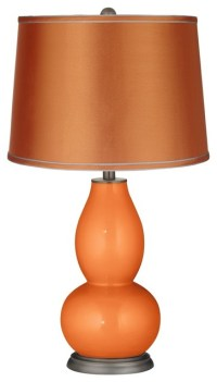 Contemporary Burnt Orange Metallic-Satin Orange Shade ...