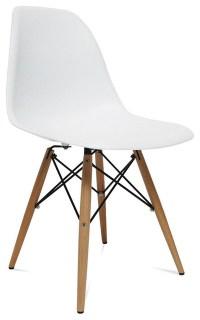 Mid Century Modern Wood Leg Side Chair White ...