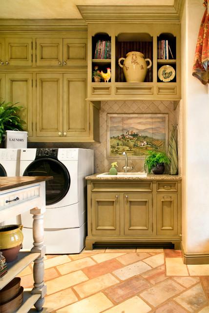 nice artwork living room modern shelving units tuscan villa - traditional laundry austin by ...