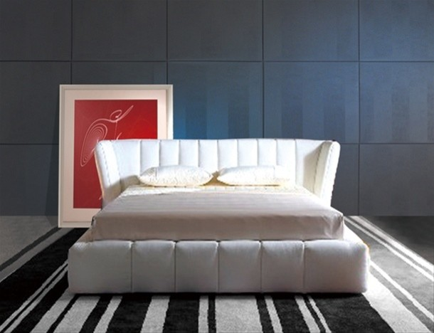 White Leather Queen Sized Platform Bed With Wraparound