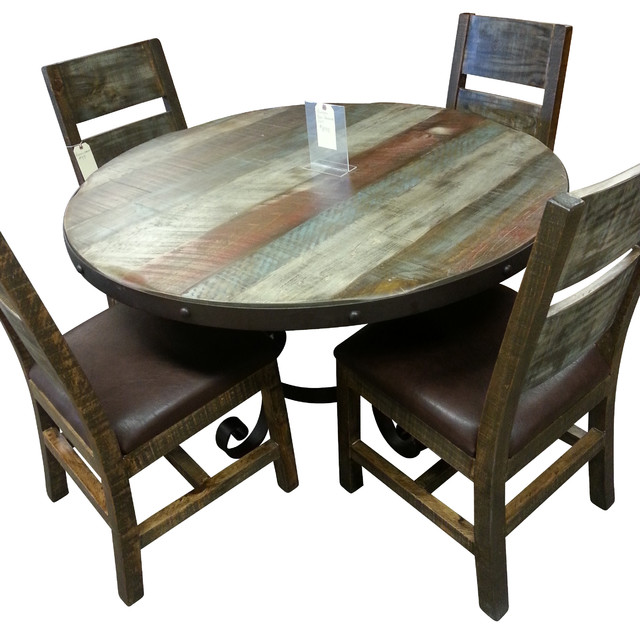 Antique Multi Color Pine 5pc Dining Set  Industrial