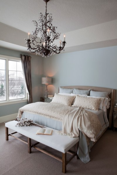 simple light blue walls master bedroom Pale Blue Master Bedroom - Traditional - Bedroom - other