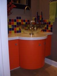 Custom built curved front bath vanity