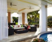 Contemporary outdoor dining tropical-patio