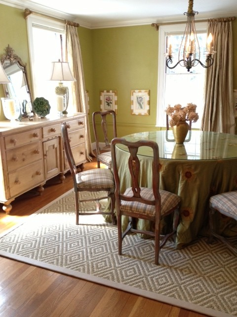 Bordered Sisal Area Rug In Dining Room Transitional Dining Room Boston By K Powers
