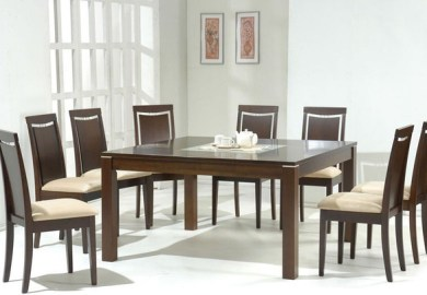 Square Glass Top Dining Table Set