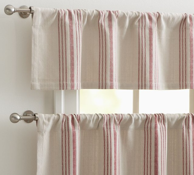 French Stripe Cafe Curtain  Traditional  Curtains  by Pottery Barn