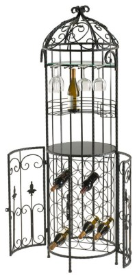 Cabernet Free Standing Wrought Iron Scroll Wine Bar - Wine ...