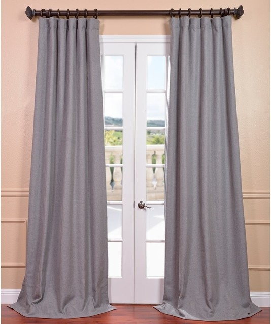 Light Grey Linen Curtain Panel  Contemporary Curtains