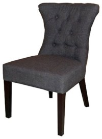 Tufted Accent Fabric Dining Chair With Nailheads, Granite ...