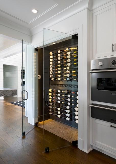 Frameless Wine Room Glass Doors Contemporary Wine Cellar