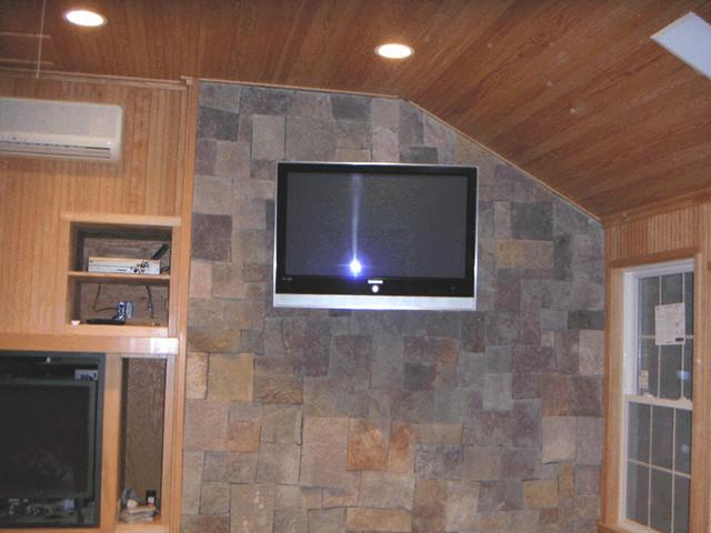 Natural Stone Faced Wall, Plasma TV Install