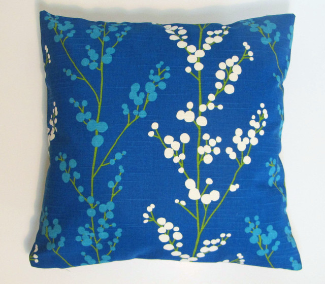 Royal Blue Cream Modern Floral Pillow Cover Set  Modern