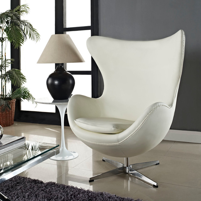 MODERN WHITE LEATHER SWIVEL LOUNGE CHAIR INSPIRED BY ARNE