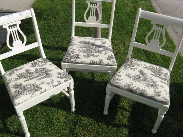 DIY Vintage Chairs Toile Fabric  Eclectic  Dining Room