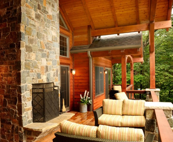 covered outdoor living space Covered Porch/Outdoor Living Space - Rustic - Porch