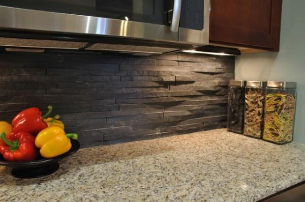 rustic kitchen with stone backsplash Island Stone Rustic Himachal Black backsplash - Modern