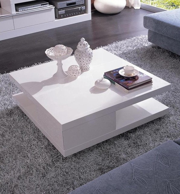 Modern White Coffee Table Modern White Square Coffee Table With Shelf Mito