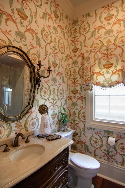 Guest Bathroom with Arabesque Wallpaper  Traditional  Bathroom  new orleans  by Nelson