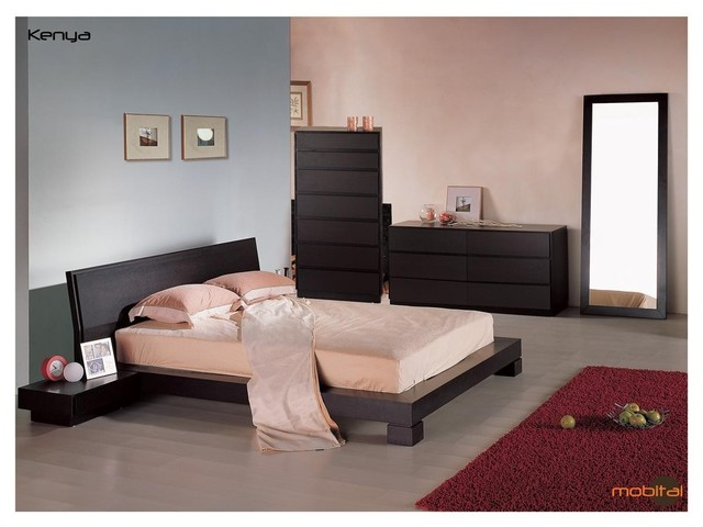 Mobital Furniture  Contemporary Wenge Bedroom Set  Mobi