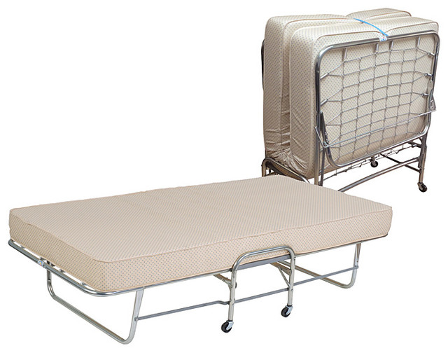 Folding Rollaway Bed Twin Size With 6 Inch Foam Mattress