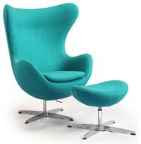 Kardiel Egg Chair & Ottoman, Turquoise Boucle Cashmere ...
