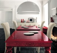 Red dining table with white high-backed chairs by AltaModa ...