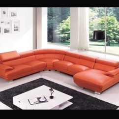 Polaris Contemporary Leather Sofa Set Dark Grey Corner Living Room Ideas Orange Sectional With Chaise - Modern ...