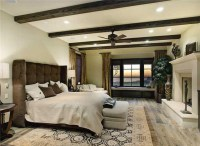 Master Bedroom with distressed wood floor - Contemporary ...