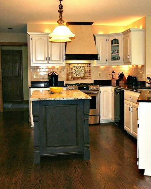 Painted and Waxed Kitchen Island  Traditional  Kitchen