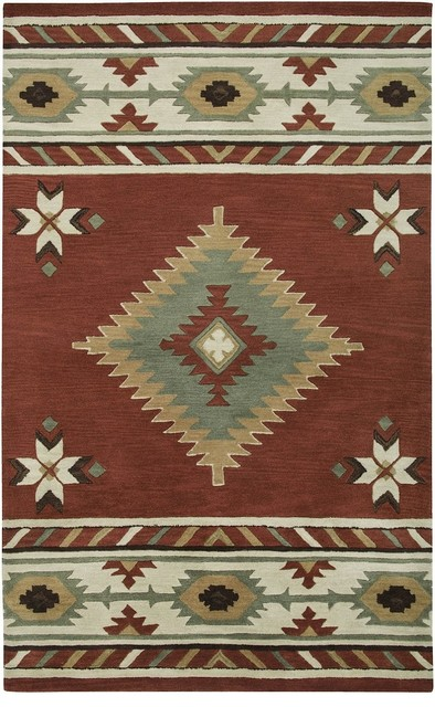 SouthwesternLodge Southwest 5x8 Rectangle Navajo Red Area Rug  Rustic  Rugs  by RugPal
